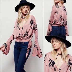 Free People Floral Bell Sleeve Faux Wrap Top